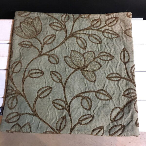 SAGE GREEN/ BROWN LEAF PATTERN PILLOW COVER